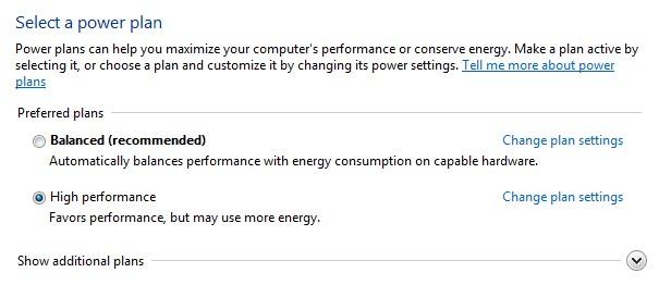 power options high performance