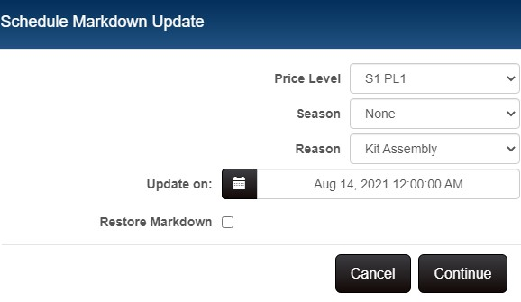 Price Manager - Schedule Update dialog
