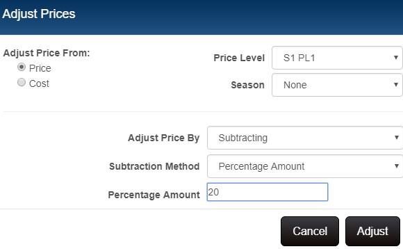 Price manager adjust prices