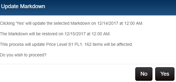 Price Manager - confirm update