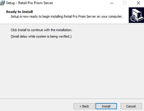 Prism server install finish