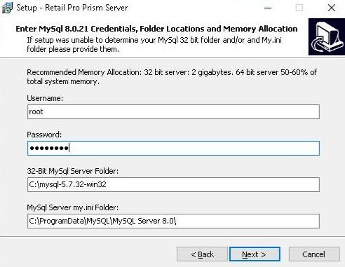 Prism server mysql install option