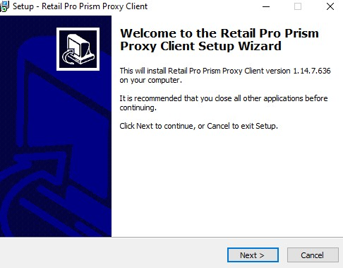 Prism Proxy install welcome screen