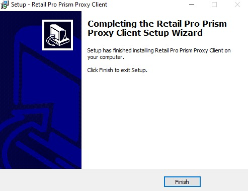 Prism Proxy install, finish screen