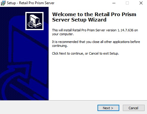 Prism server install, welcome screen