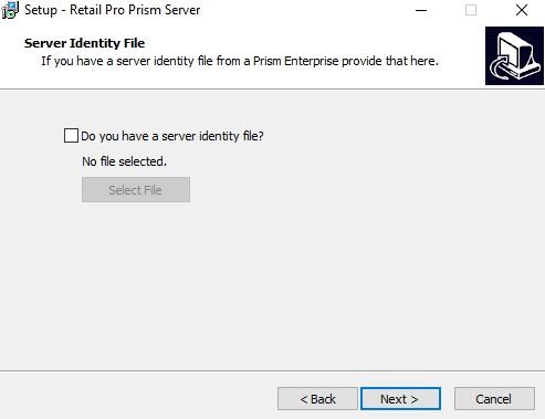 Prism server install, Server identity file check