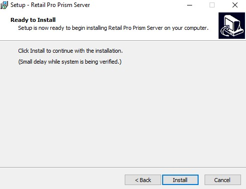 Prism server install, start installation screen