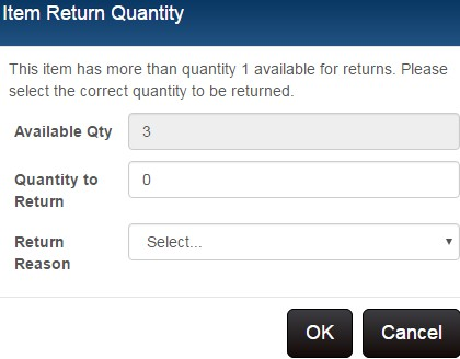 Return quantity selection