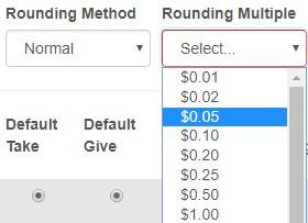 Tender rounding option