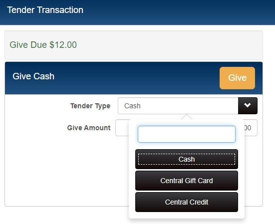 choosing tender type of central gift card