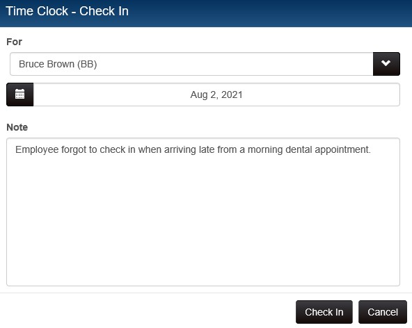 Time clock manager: new check in/check out record