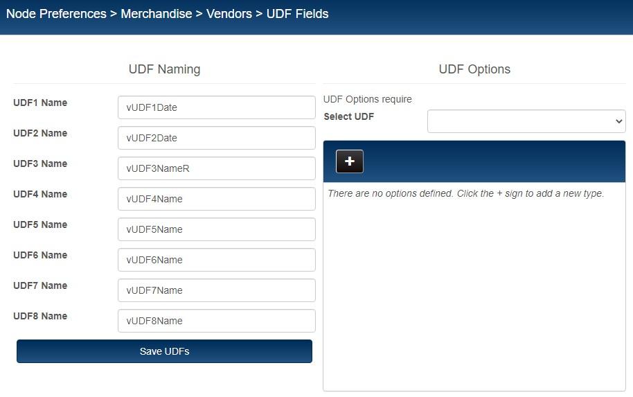 Vendor UDF Preferences